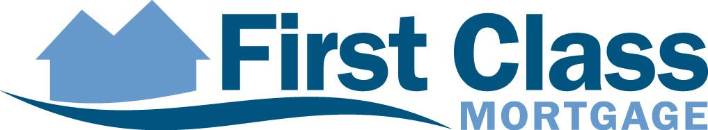 First Class mortgage logo house outline in blue