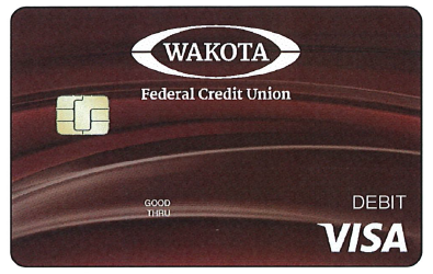 New WFCU debit card design. Maroon with cu and Visa logo